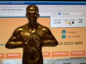 Oscar standing in front of an Irlen syndrome website