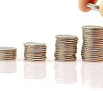 Four piles of coins