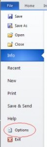 MS Word File tab