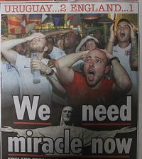 News paper headline - England's poor World Cup performance