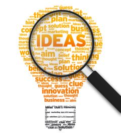 Magnifying glassover lightbulb of idea related words